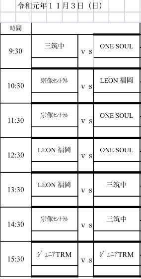 U-14 カップ戦スケジュール